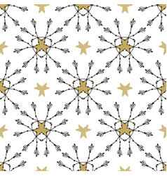 Tribal pattern with gold stars seamless print vector