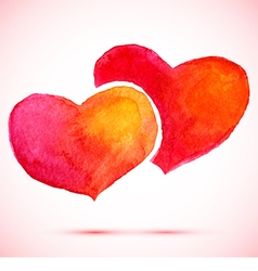 watercolor background 2 red hearts vector image