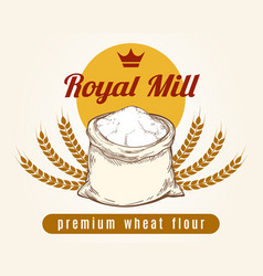 whole bag of wheat flour sketch vector image vector image