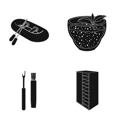 Wood design cafe and other web icon in black vector