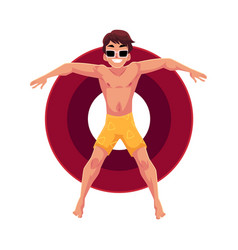 young man in sunglasses on inflatable ring in star vector image vector image