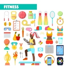 Fitness trainer healthy lifestyle icons vector