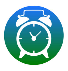Alarm clock sign  white icon in bluish vector
