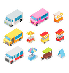 minivan and streetfood stall collection on white vector image