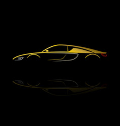 yellow car silhouette with reflection vector image