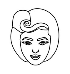 Silhouette drawing of face woman with eighties vector
