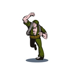 Soldier running punch vector