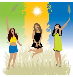 girls on nature vector image