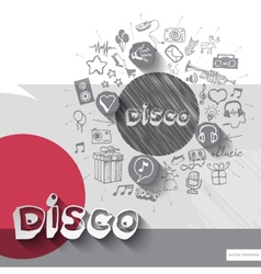 Hand drawn disco icons with icons background vector