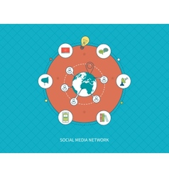 Communication distance education and social media vector