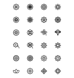 Flowers and floral line icons 1 vector
