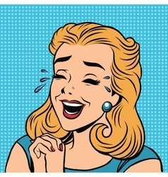 Emoji retro laughter joy joke girl emoticons vector