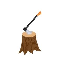 Stump with axe icon cartoon style vector