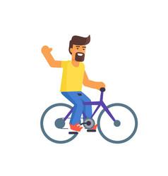 bearded man riding on bike vector image vector image