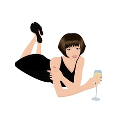 Beautiful woman with glass of wine vector image
