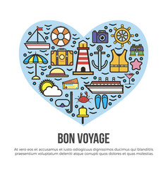 bon voyage heart sea cruise travel summer vacation vector image vector image