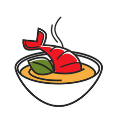 Bowl with cream soup made of lobster isolated vector