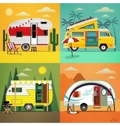 Camping trailers vector