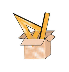 Cardboard box and rulers set in colored crayon vector