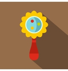 Colorful baby rattle icon flat style vector