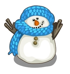 Cute smiling snowman in blue scarf and hat vector image