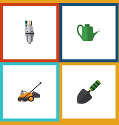 Flat icon dacha set of pump lawn mower bailer vector