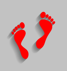 Foot prints sign red icon with soft vector