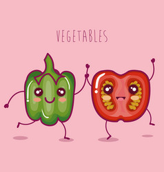 fresh vegetables funny character vector image vector image