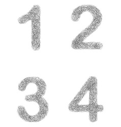 Furry sketch font set - numbers 1 2 3 4 vector
