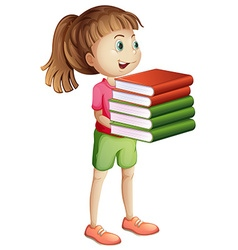 Girl carrying many books vector image