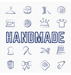 Handmade hobby linear icons set vector