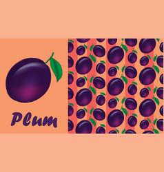 Juicy plum pattern vector