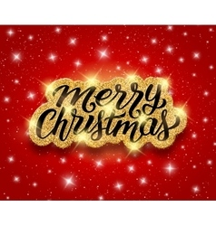 Merry Christmas lettering on greeting card vector image