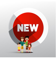 new circle red label with family paper symbol vector image vector image