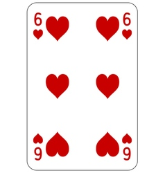Poker playing card 6 heart vector image vector image