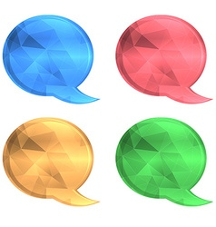 round polygonal cloud for chat blue red green and vector image