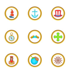 Sailor day icons set cartoon style vector