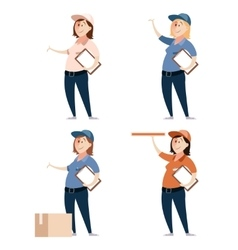 Set of delivery women vector image vector image