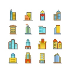 set of thin colorful business city icons vector image vector image