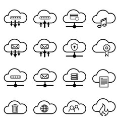 Set with cloud icons simple cloud pictograms on a vector