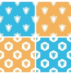 Shield pattern set colored vector