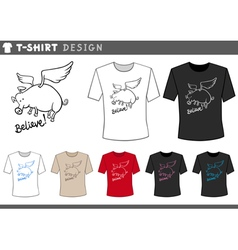 T shirt design with flying pig vector
