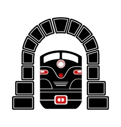 Train in tunnel icon simple style vector