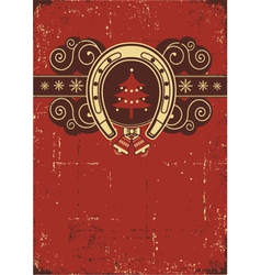 Vintage red Christmas background with horseshoel vector image vector image