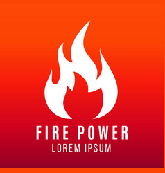 white flame of fire logo design on bright vector image