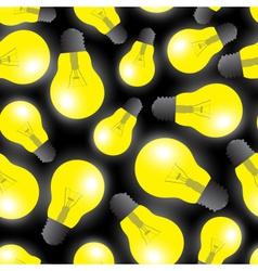Yellow light bulbs - light source seamless pattern vector