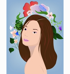 Brunette with flowers vector