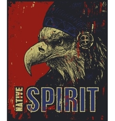 Native American poster eagle in war bonnet vector image