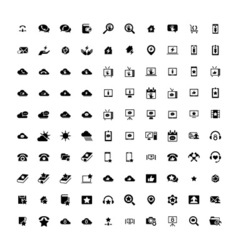 Set of 100 universal icons business internet web vector