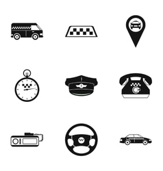 Taxi ride icons set simple style vector